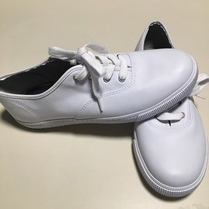 Sperry Leather Tennis Shoes Lace Up Sneakers White